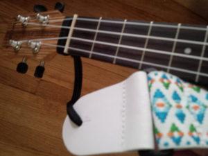 NeoTech Acoustic Guitar Strap Adapter on a Caramel CT 102A Zebrawood Tenor Ukulele