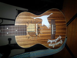 guitar decals on a Caramel CT102A Tenor Ukulele