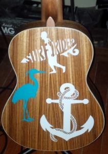 guitar decals on a Caramel CT102A Tenor Ukulele